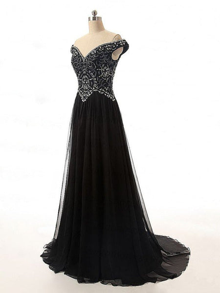 Black Prom Dress Off The Shoulder Straps Evening Party Gown pst1032