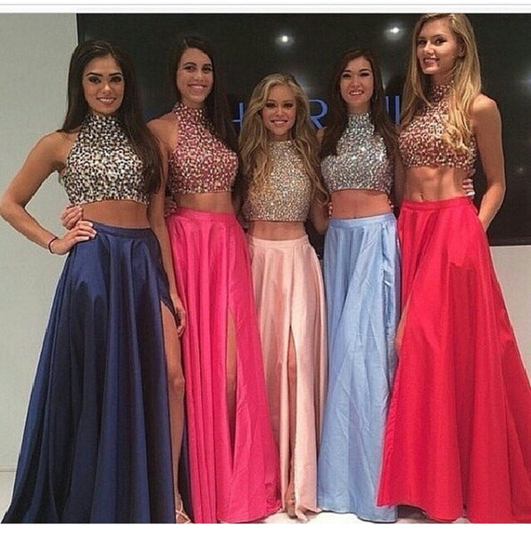 High Neck Two Piece Pink Taffeta Long Prom Dresses 2016 Front Split Mid Section Dark Blue Beadings Sexy Evening Prom Gowns,Showing Navel Formal Women Dresses,Graduation Dress pst1312