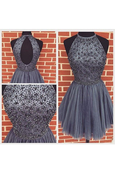 2016 Beaded Homecoming Dress Short Prom Dresses Halter Strap pst1358