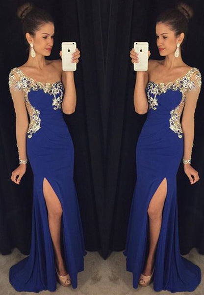 Blue Prom Dress with Slit Prom Dresses with One Sleeves pst1423