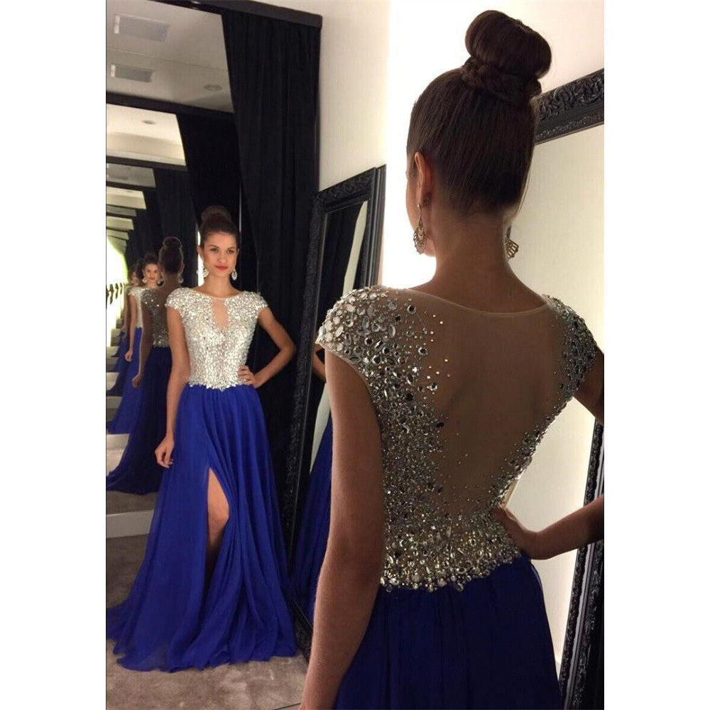 Royal Blue Prom Dress with Slit  Cocktail Formal Wear pst1434