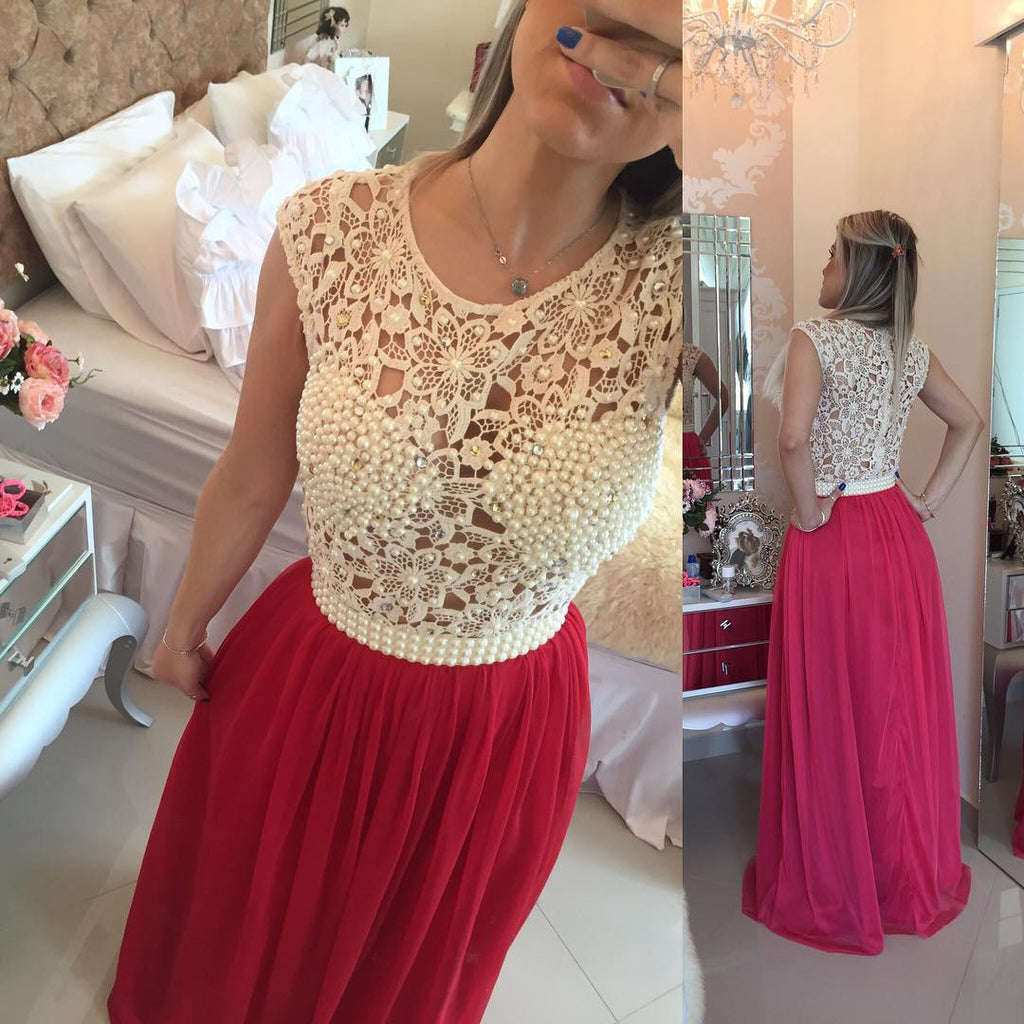 Red Prom Dress with Lace Bodice and Pearls pst1452