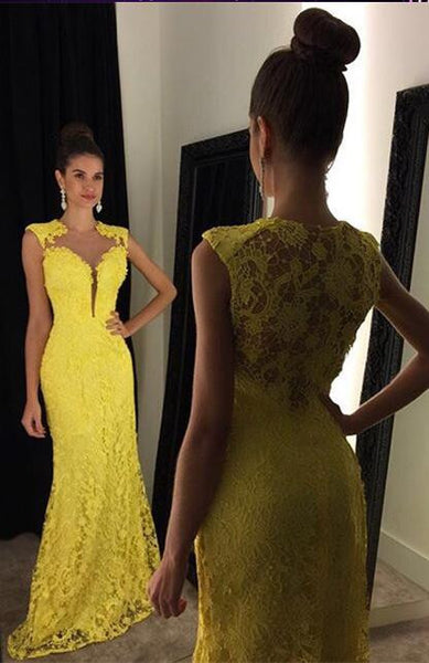 Yellow Lace Prom Dresses Wedding Party Gown Cocktail Formal Wear pst1455