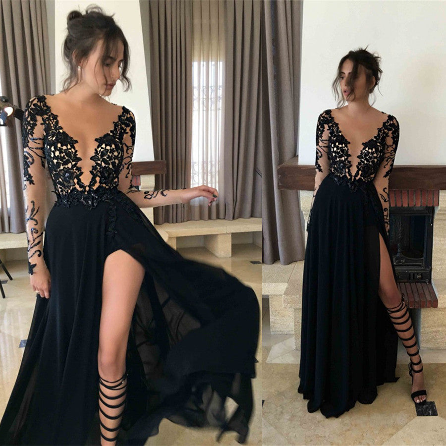 Black Prom Dress Deep V Neckline Prom Dresses with Long Sleeves pst1468