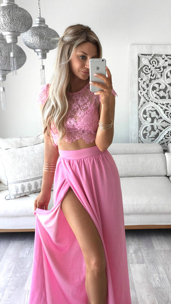 Sexy Prom Dress with High Slit Prom Dresses in Two Pieces pst1473