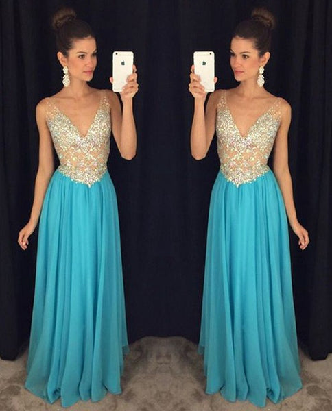 Long Prom Dress V Neckline Party Gown Cocktail Formal Wear pst1494