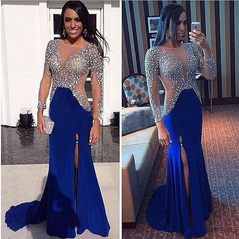 Long Sleeves Prom Dresses with Slit Party Gown Cocktail Formal Wear pst1529