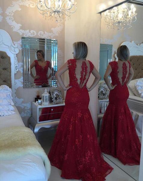 Red Lace Prom Dress Party Gown Cocktail Formal Wear pst1540