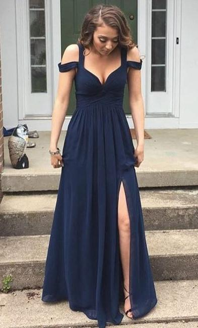 78a8185a7218 ... Sexy Navy Prom Dress with Slit Skirt Graduation Dresses For Teens  pst1560 ...