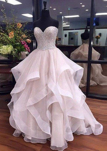 2017 sweetheart organza prom dresses party dresses zipper back