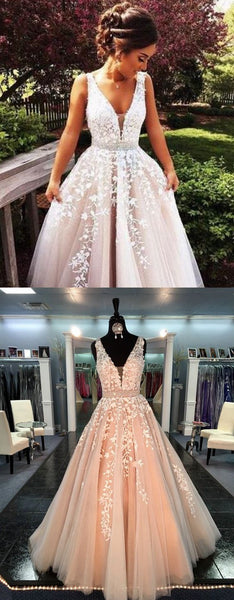 2017 V neckline tulle prom dresses wedding party dresses real photos