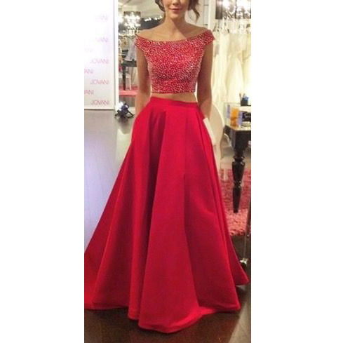 Off Shoulder Two Piece Prom Dresses Beaded Bodice A Line Skirt pst0007