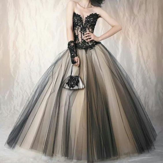 Sleeveless Ball Gown Prom Dresses Tulle Skirt Beaded Applique Bodice pst0020