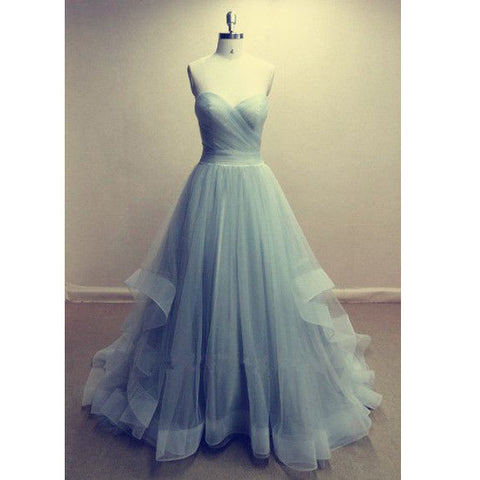 2016 New Strapless Prom Dresses Sweetheart A Line Tulle Prom Dresses pst0024