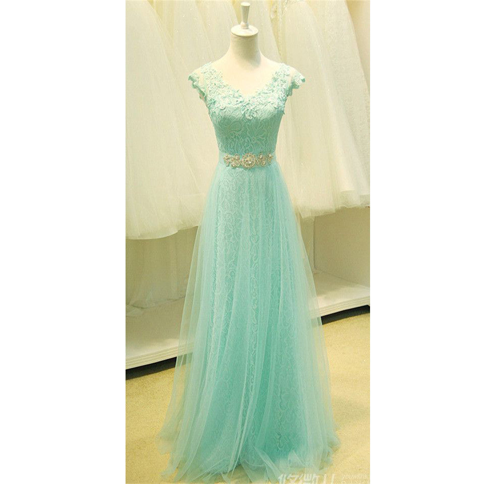 Floor Length Lace and Tulle Evening Dresses Beaded Waistband pst0026