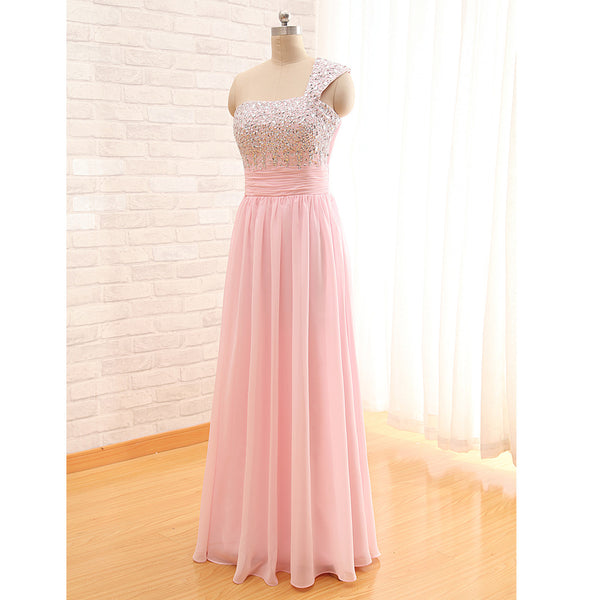 One Shoulder Chiffon Long Prom Dresses Fully Beaded Bodice pst0064