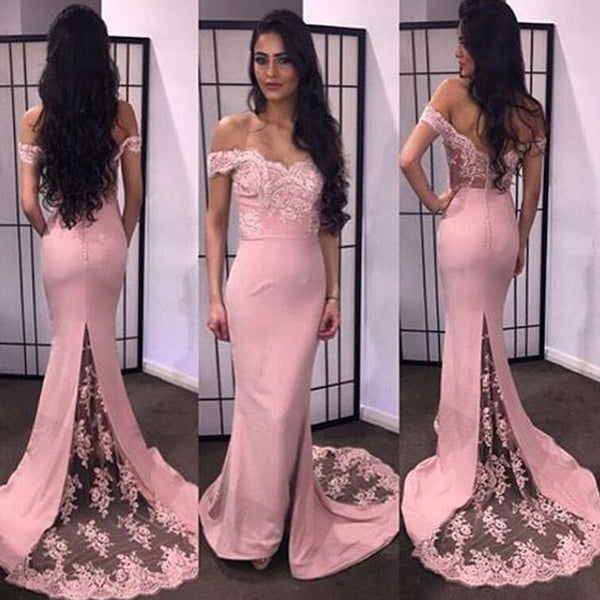 Sexy Mermaid Pink Evening Dresses Lace Prom Gowns Lace pst0067