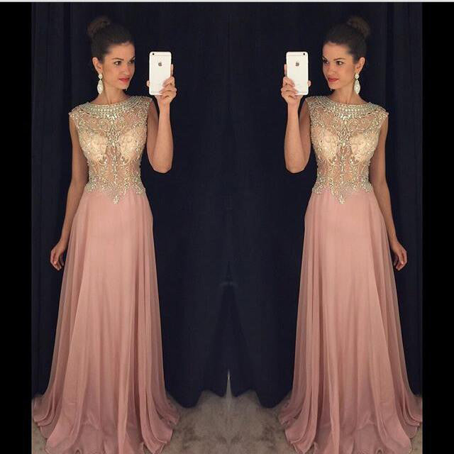 Pink Sexy Prom Dresses Beads Bodice pst0071