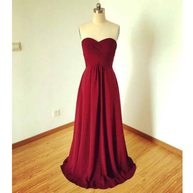 Burgundy Chiffon Prom Dresses Bridesmaid Dresses Sweetheart pst0083