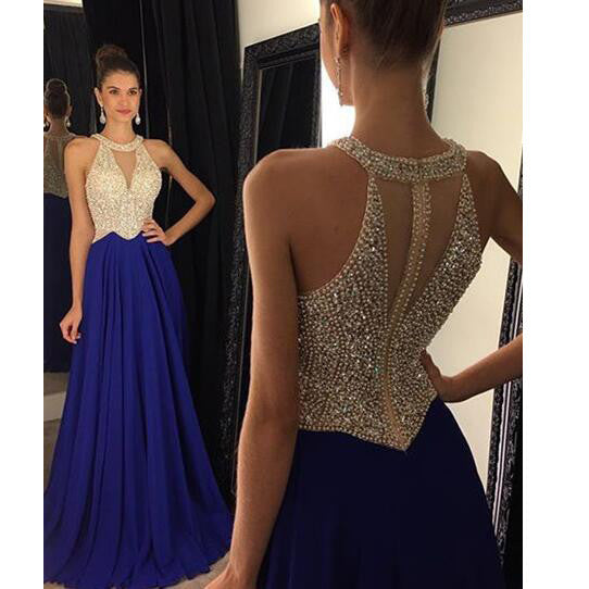 Halter V Neckline Floor Length Evening Dresses Prom Gowns pst0100