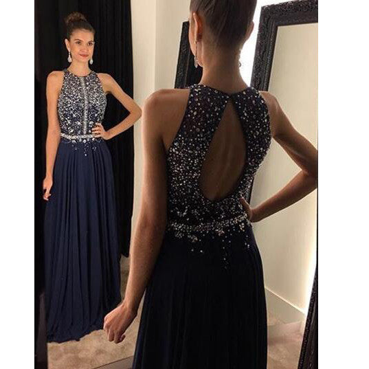 Halter Floor Length Beaded Evening Dresses Prom Gowns Keyhole Back  pst0101