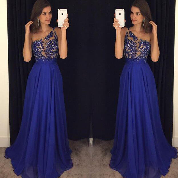 Royal Blue Celebrity Dresses Prom Gowns Lace and Beads Bodice pst0103