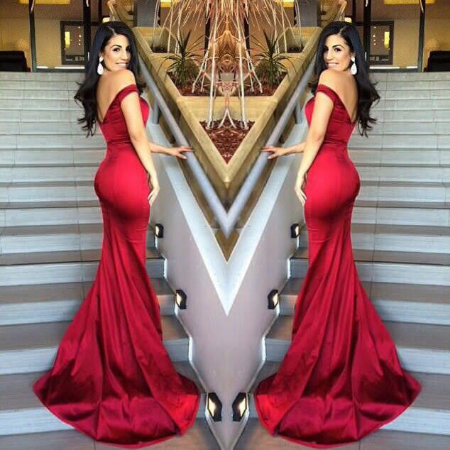 Off Shouder Red Satin Mermaid Prom Dresses pst0108