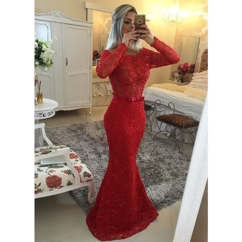 2016 Red Mermaid Lace Prom Dresses Long Sleeves Floor Length pst0127