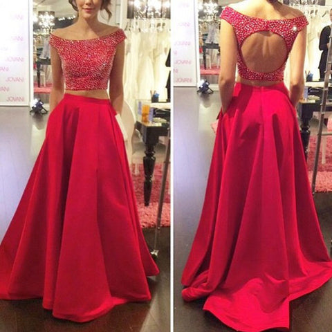 2016 Two Piece Satin Prom Dresses Homecoming Gowns Keyhole Back pst0128