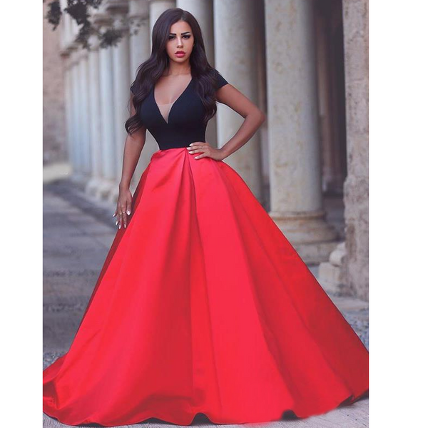 Sexy Ball Gown Black and Red Prom Dresses Deep Neckline pst0135
