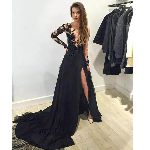 2016 Black Tulle And Lace Celebrity Evening Dresses Prom Gowns