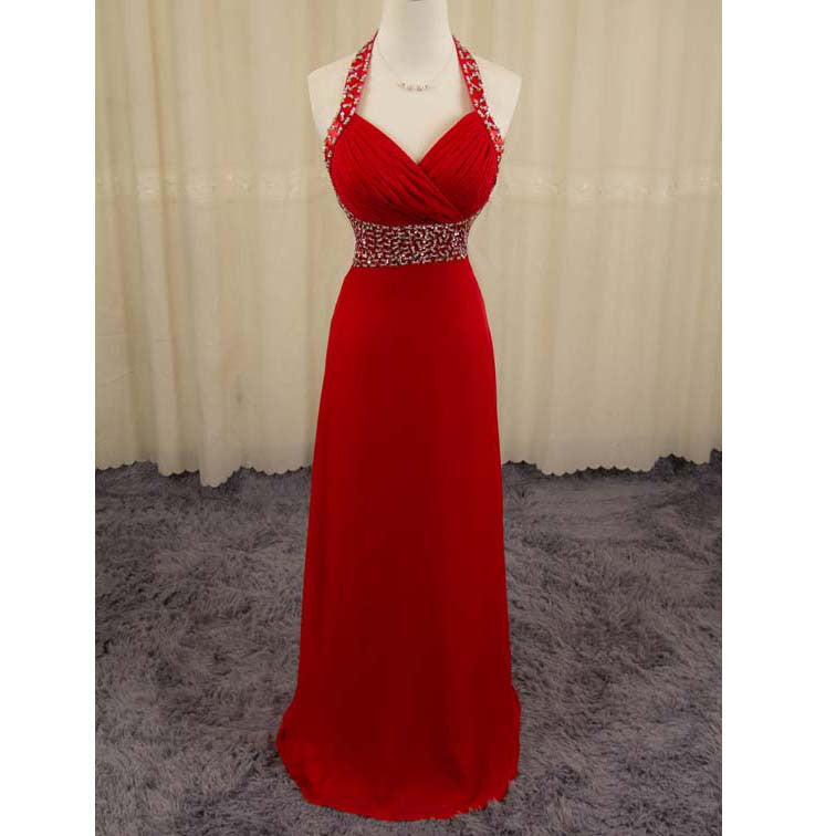 Red Chiffon Celebrity Lace Prom Dresses Hatler Straps pst0155