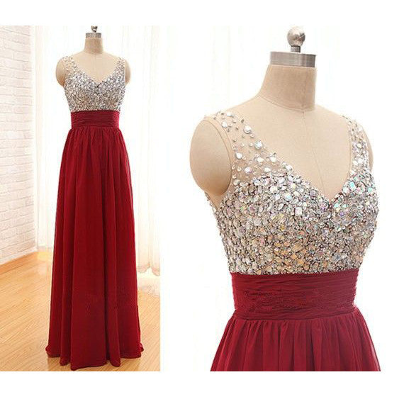 Sheeth Beads Bodice and Chiffon Prom Dresses pst0160