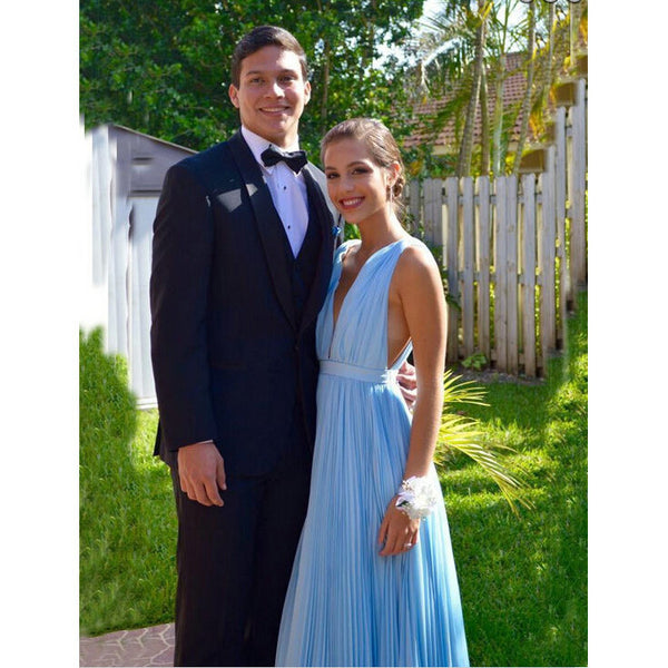 Sexy Deep V Floor Length Sky Blue Ruched Prom Dresses pst0191