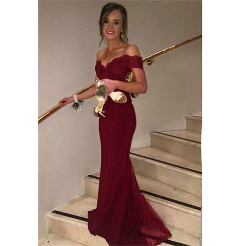 Burgunday Off Shoulder Lace and Tulle Mermaid Celebrity Prom Dresses pst0210