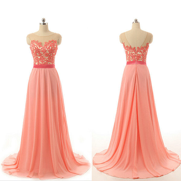 Illusion Neckline Lace Bodice Chiffon Skirt Celebrity Prom Dresses pst0214