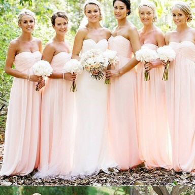 Light Blush Pink Floor Length Chiffon Bridesmaid Dresses