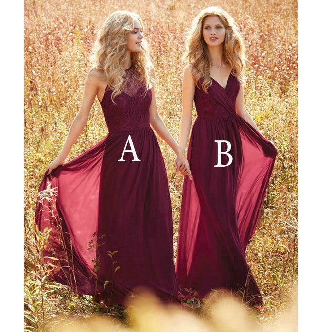 Mismatched Burgundy Bridesmaid Dresses Floor Length pst0299