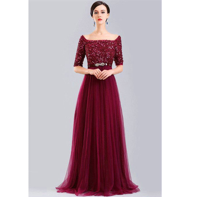 Burgundy Lace Prom Dresses Floor Length pst0310