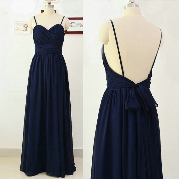 Spaghettis Navy Bridesmaid Dresses Floor Length pst0343