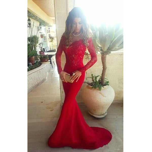 Mermaid Red Prom Dresses with Long Sleeves pst0348