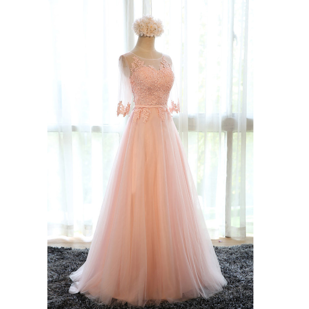 Pink Tulle Lace Prom Dresses Floor Length pst0391