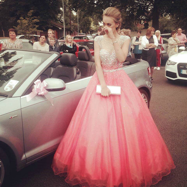 Pink Tulle Prom Gowns Floor Length pst412