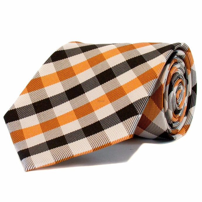 Orange White and Black Check