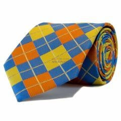 Baby Blue with Orange and Yellow Check