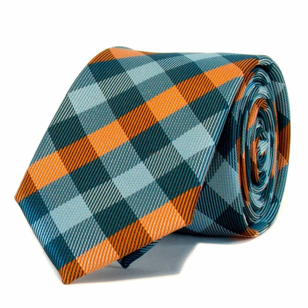 Light Blue & Orange Check