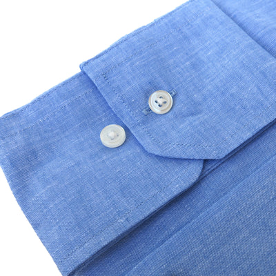 Wide Spread Blue Linen Shirt