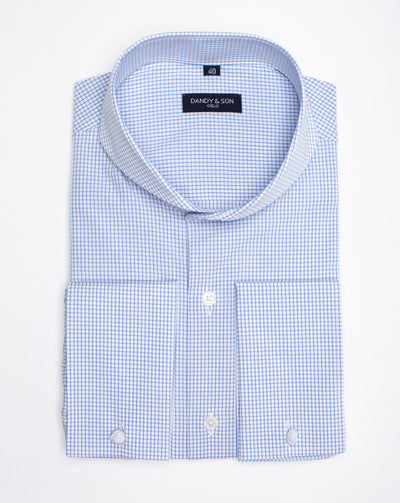 Extreme Cutaway Blue Grid Shirt French Cuff