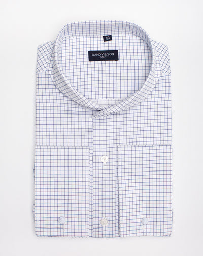 Extreme Cutaway Non-Iron Blue Grid Shirt French Cuff