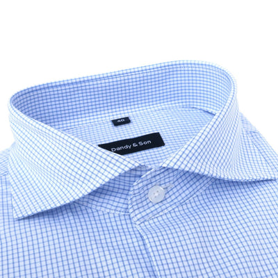 Shirts - Wide Spread Blue Grid Shirt